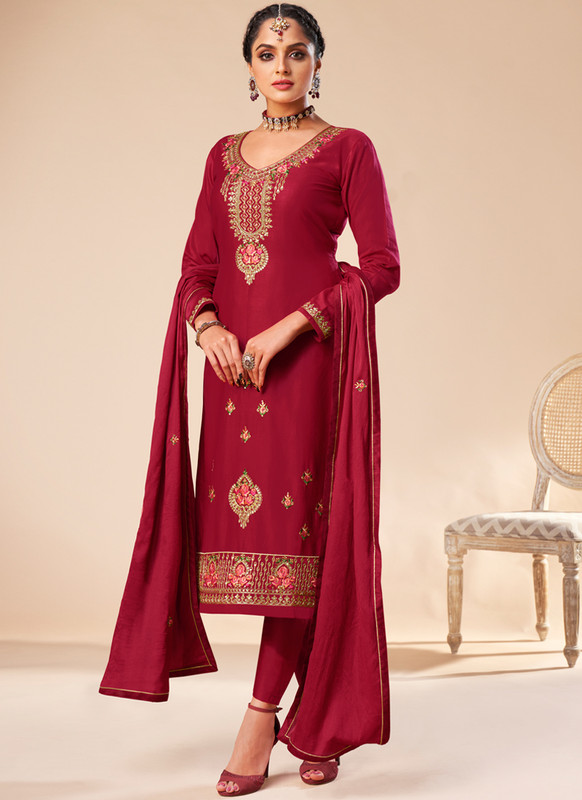SareeBuzz Red Silk Embroidered Work Designer Churidar Salwar Kameez