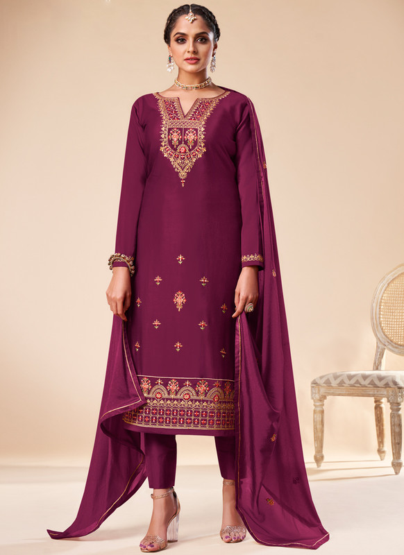 SareeBuzz Purple Silk Embroidered Work Designer Churidar Salwar Kameez