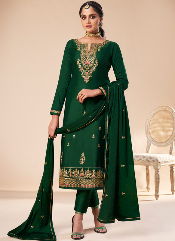 SareeBuzz Green Silk Embroidered Work Designer Churidar Salwar Kameez