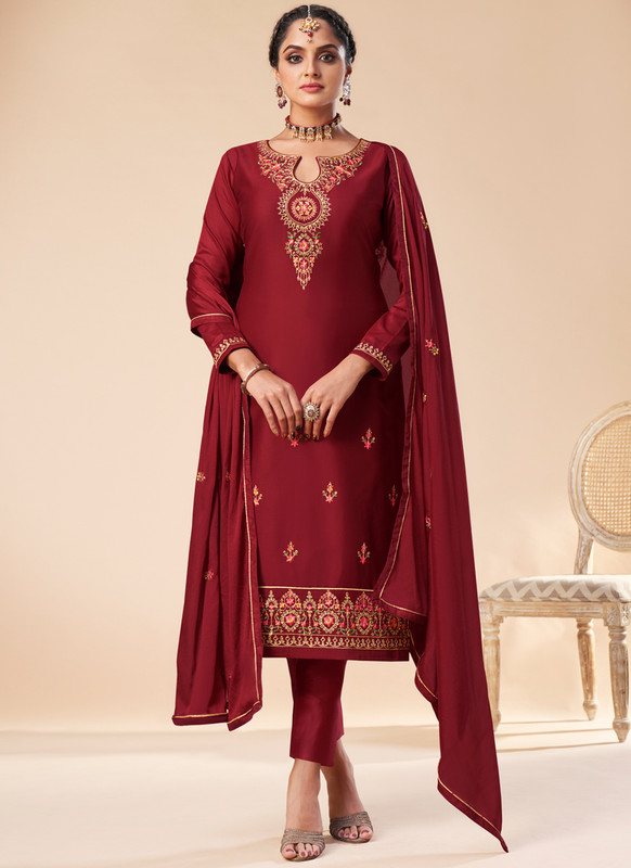 SareeBuzz Maroon Silk Embroidered Work Designer Churidar Salwar Kameez