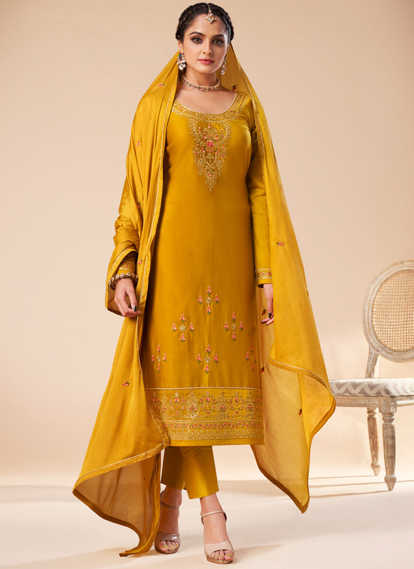 SareeBuzz Yellow Silk Embroidered Work Designer Churidar Salwar Kameez
