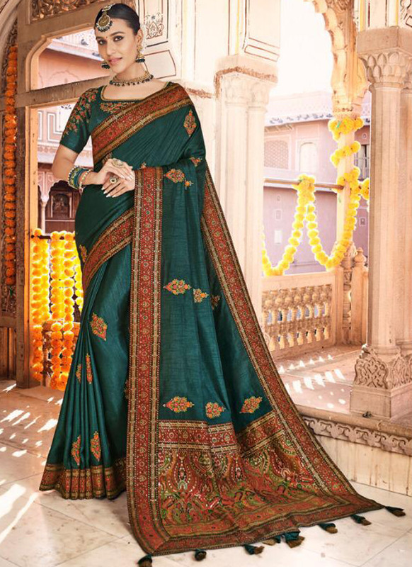 SareeBuzz Peacock Green Dola Silk Kalamkari Print Traditional Saree