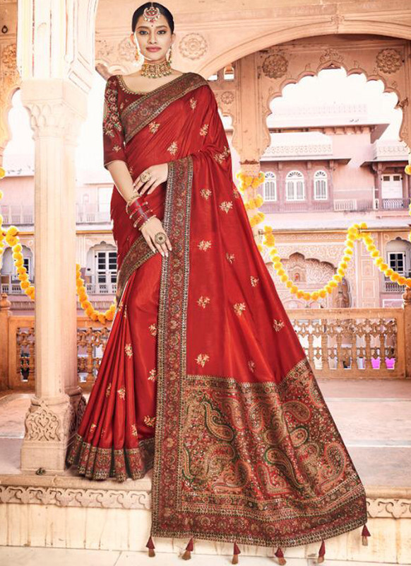 SareeBuzz Red Dola Silk Kalamkari Print Traditional Saree