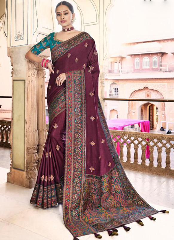 SareeBuzz Wine Dola Silk Kalamkari Print Traditional Saree