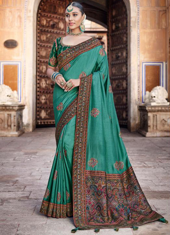 SareeBuzz Sea Green Dola Silk Kalamkari Print Traditional Saree