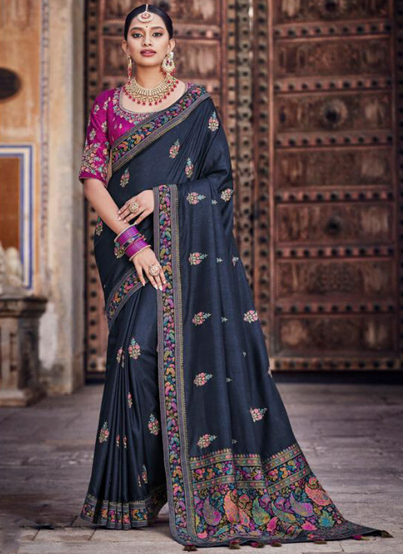 SareeBuzz Navy Blue Dola Silk Kalamkari Print Traditional Saree