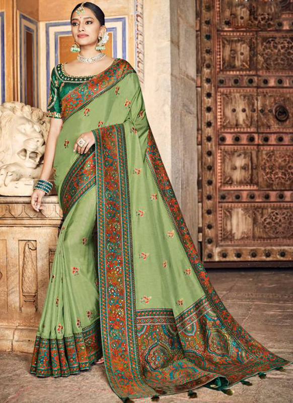 SareeBuzz Green Dola Silk Kalamkari Print Traditional Saree