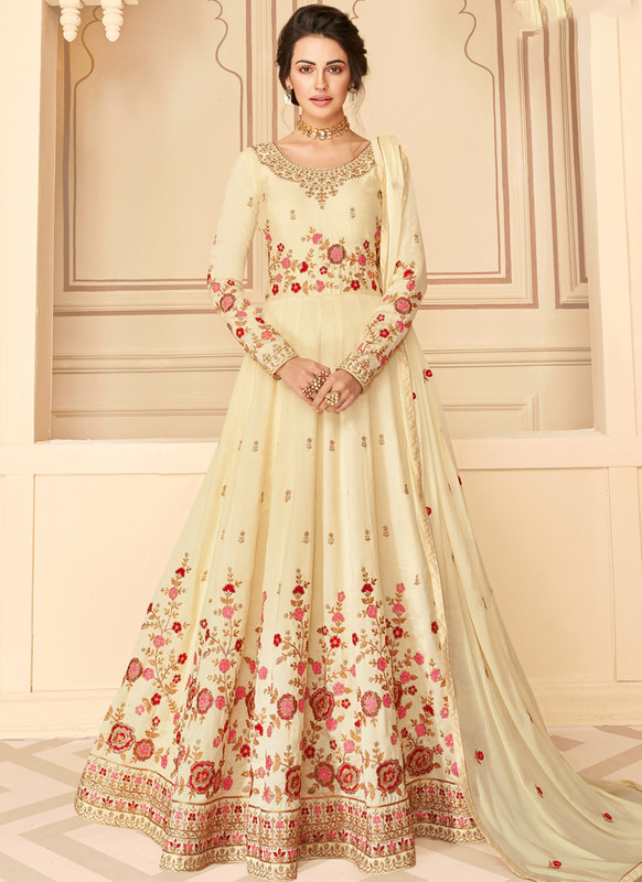 SareeBuzz Off White Silk Embroidered Work Party Wear Anarkali Salwar Kameez