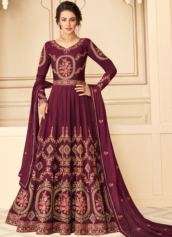 SareeBuzz Magenta Silk Embroidered Work Party Wear Anarkali Salwar Kameez