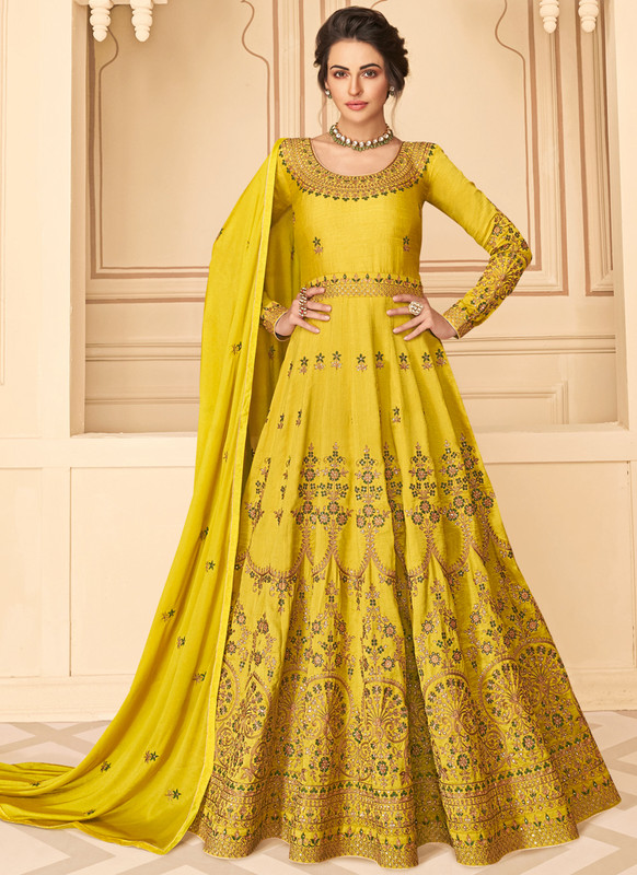 SareeBuzz Yellow Silk Embroidered Work Party Wear Anarkali Salwar Kameez