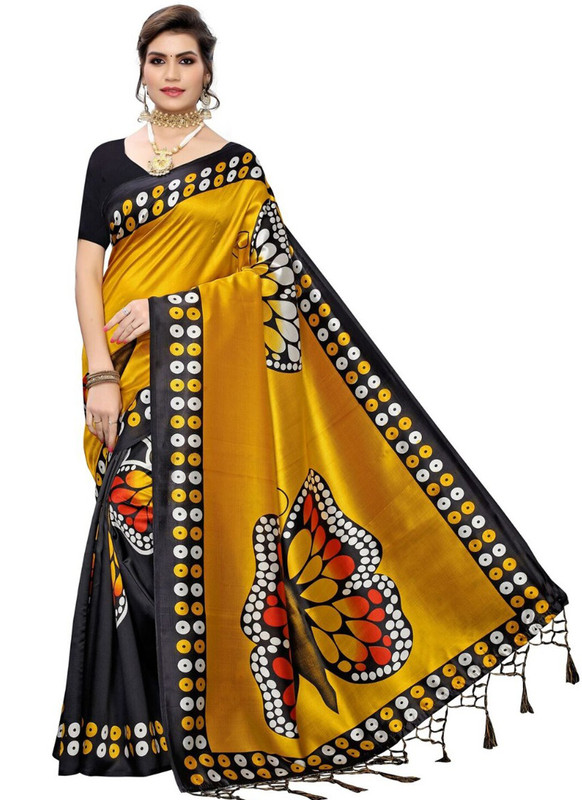 SareeBuzz Mustard Silk Printed Fancy Jhalar Designer Saree