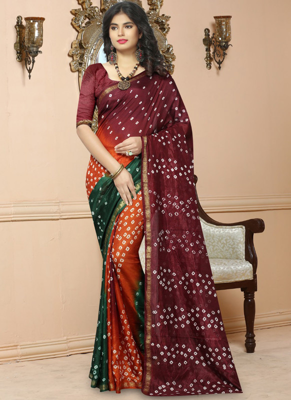 SareeBuzz Maroon Silk Handmade Bandhej Work Traditional Saree