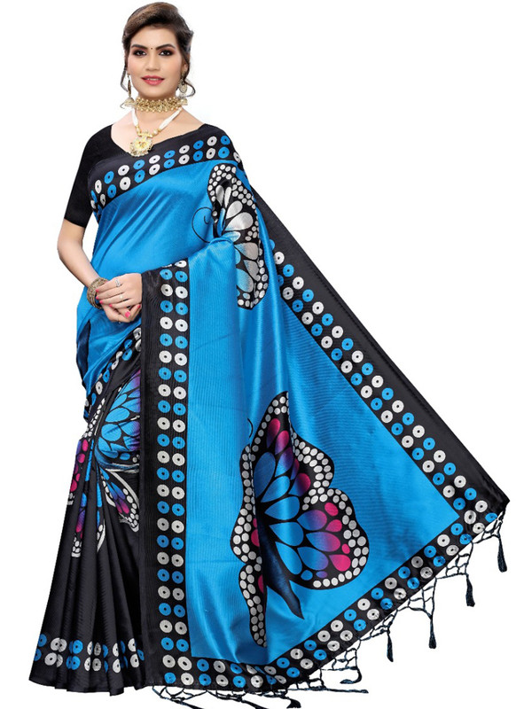 SareeBuzz Blue Silk Printed Fancy Jhalar Designer Saree