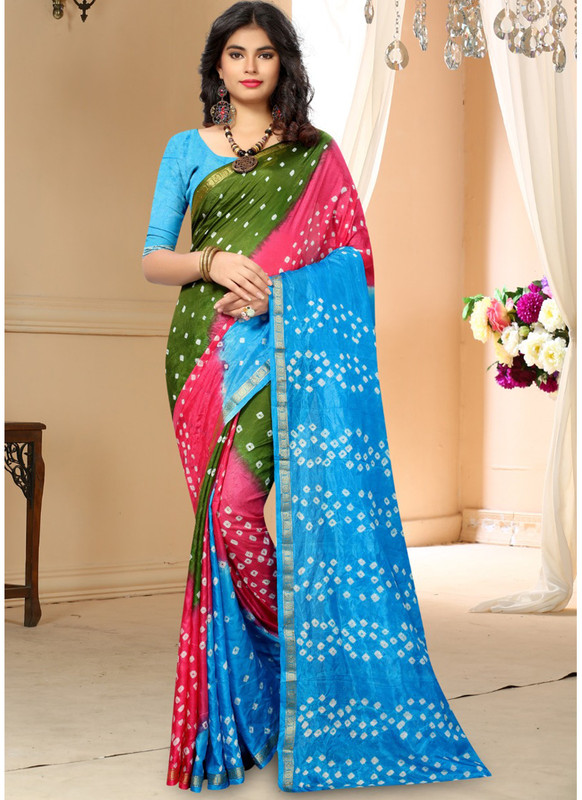 SareeBuzz Green And Sky Blue Silk Handmade Bandhej Work Traditional Saree