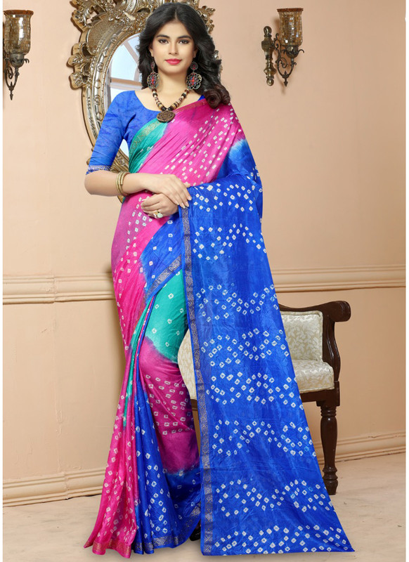 SareeBuzz Pink And Sky Blue Silk Handmade Bandhej Work Traditional Saree