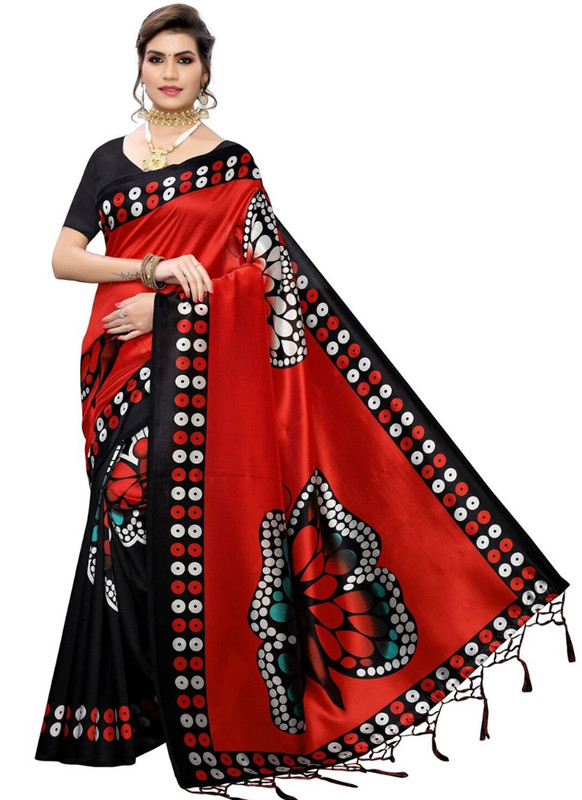 SareeBuzz Red Silk Printed Fancy Jhalar Designer Saree