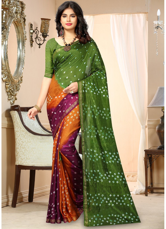 SareeBuzz Green And Maroon Silk Handmade Bandhej Work Traditional Saree