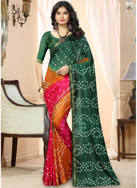 SareeBuzz Bottel Green And Pink  Silk Handmade Bandhej Work Traditional Saree