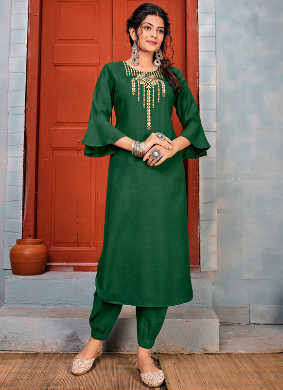 SareeBuzz Green Rayon Embroidered Work Party Wear Kurti