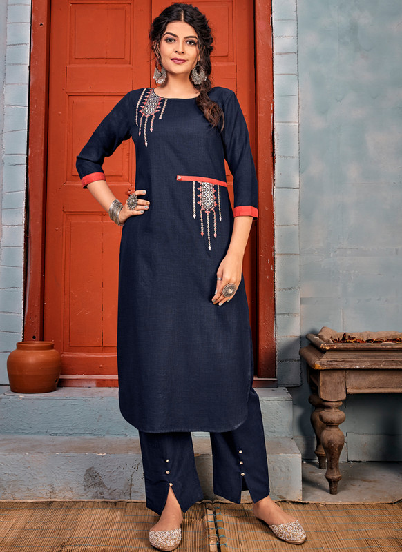 SareeBuzz Blue Rayon Embroidered Work Party Wear Kurti