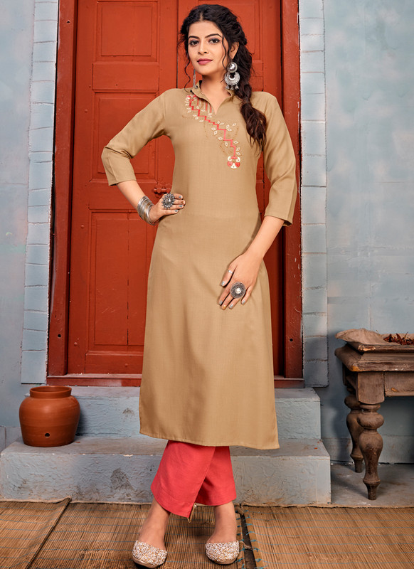 SareeBuzz Chikoo Rayon Embroidered Work Party Wear Kurti