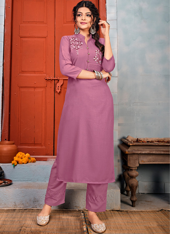 SareeBuzz Lavender Rayon Embroidered Work Party Wear Kurti