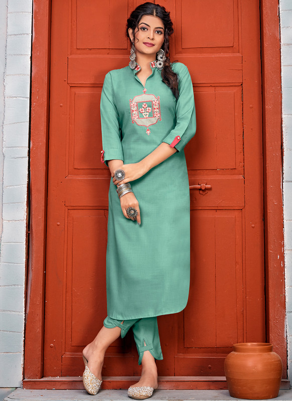SareeBuzz Sea Blue Rayon Embroidered Work Party Wear Kurti