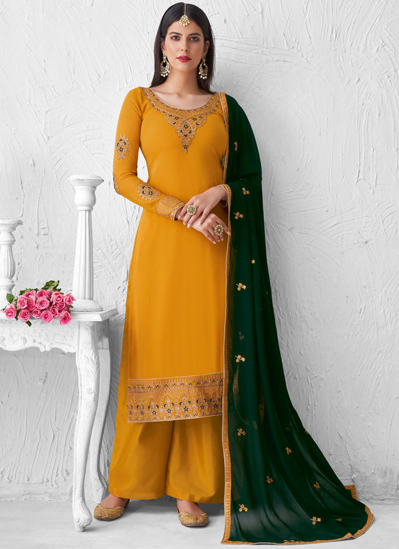 SareeBuzz Yellow Georgette Embroidered Work Designer Palazzo Salwar Suit