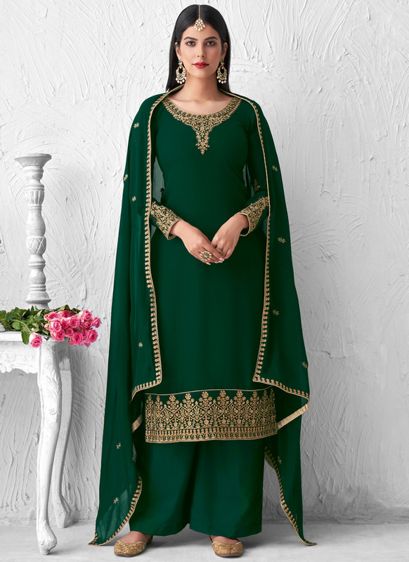 SareeBuzz Green Georgette Embroidered Work Designer Palazzo Suit