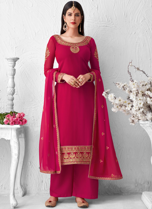 SareeBuzz Rani Georgette Embroidered Work Designer Palazzo Salwar Suit
