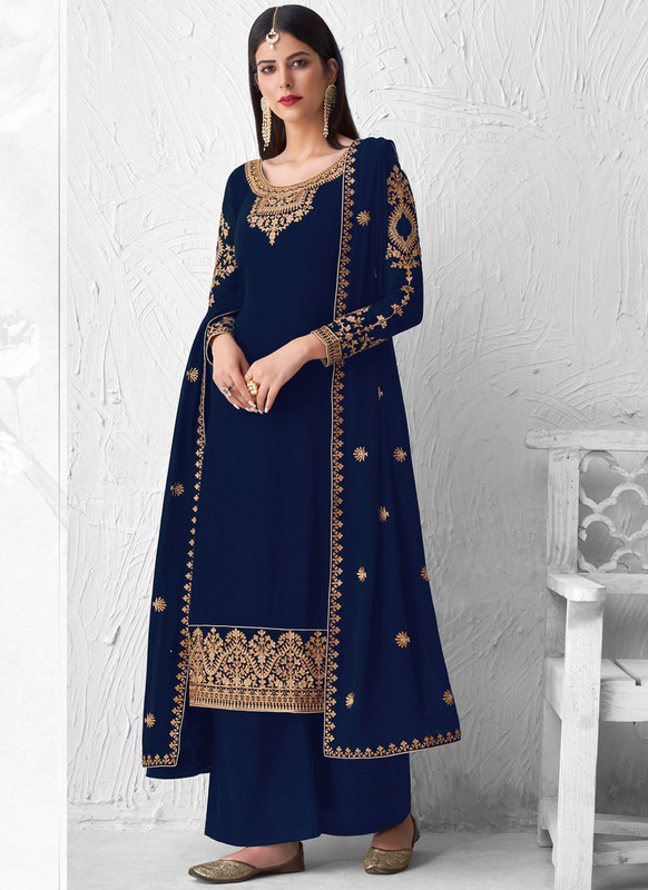 SareeBuzz Blue Georgette Designer Embroidered Work Palazzo Salwar Suit