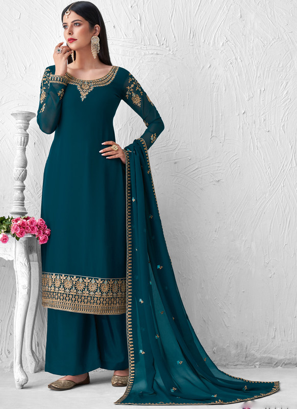 SareeBuzz Rama Georgette Embroidered Work Designer Palazzo Salwar Suit