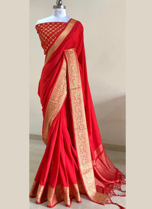 SareeBuzz Red Silk With Woven Border And Sequence Blouse Party Wear Saree