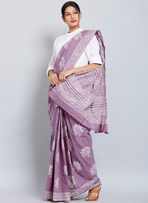 SareeBuzz Lavender Chanderi Silk Digital Print Party Wear Saree