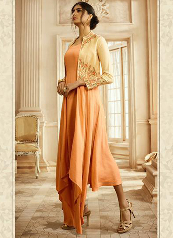 SareeBuzz Peach Rayon Cotton Embroidered Designer Party Wear Kurti