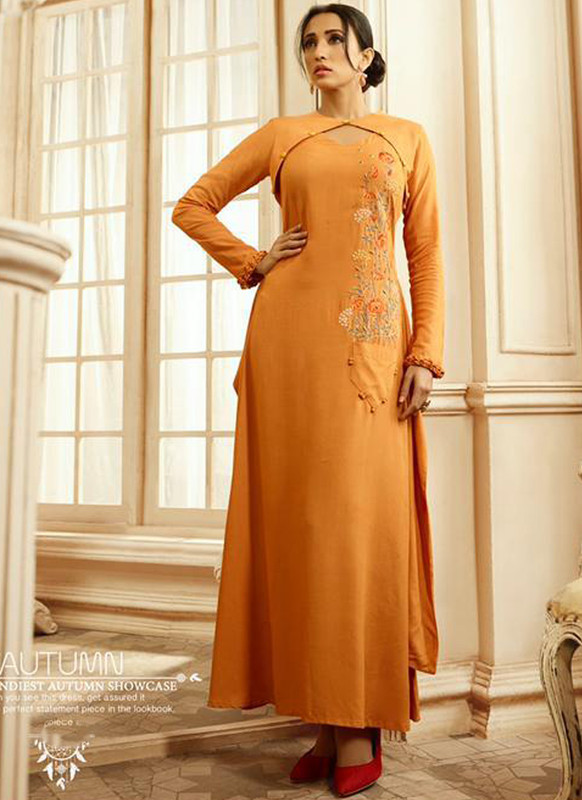SareeBuzz Orange Rayon Cotton Embroidered Work Designer Party Wear Kurti