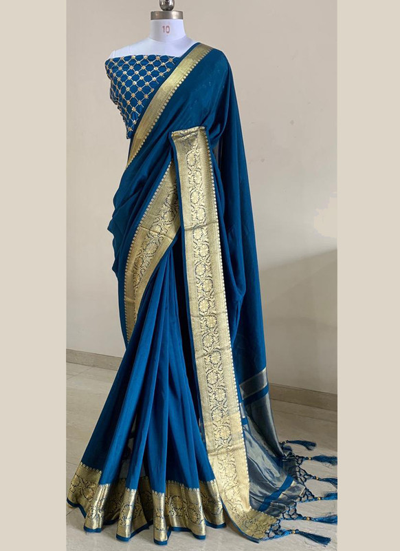 SareeBuzz Blue Silk With Woven Border And Sequence Blouse Party Wear Saree