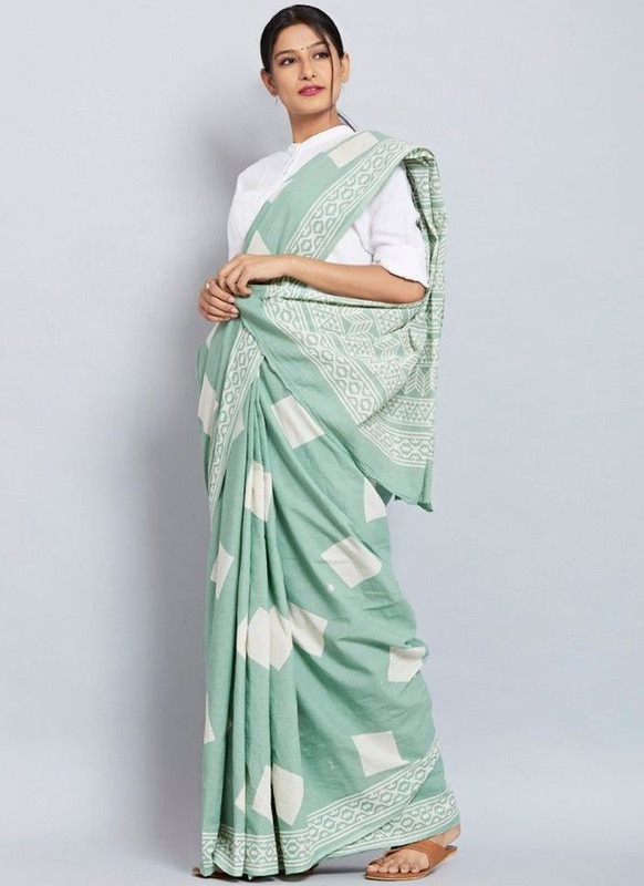 SareeBuzz Sea Green Chanderi Silk Party Wear Printed Saree