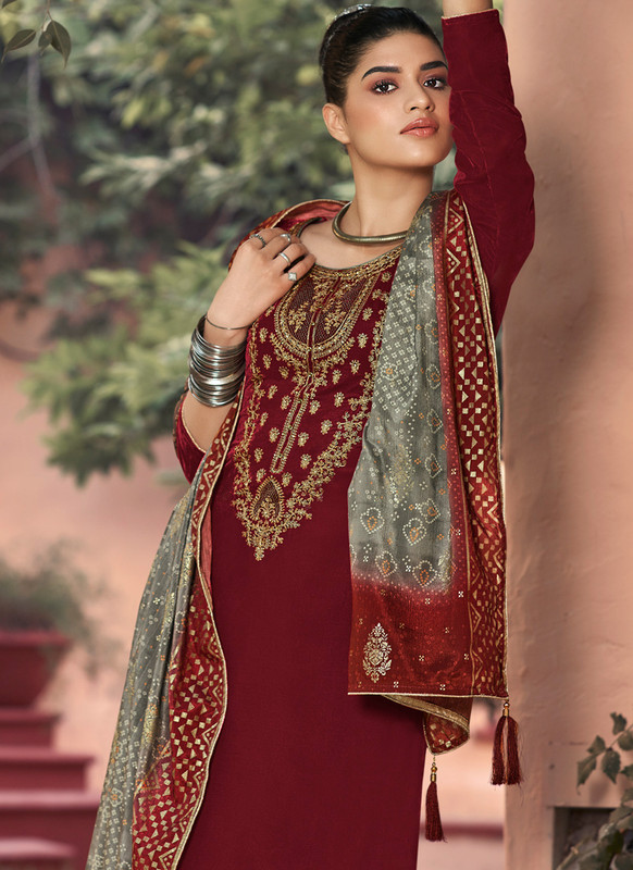 SareeBuzz Maroon Georgette Heavy Embroidered Work Party Wear Palazzo Salwar Suit