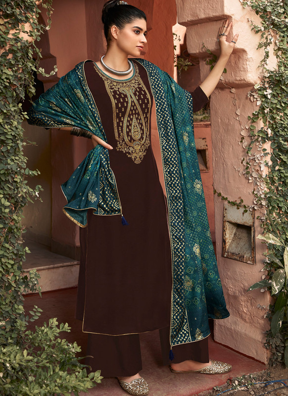 SareeBuzz Coffee Georgette Heavy Embroidered Work Party Wear Palazzo Salwar Suit
