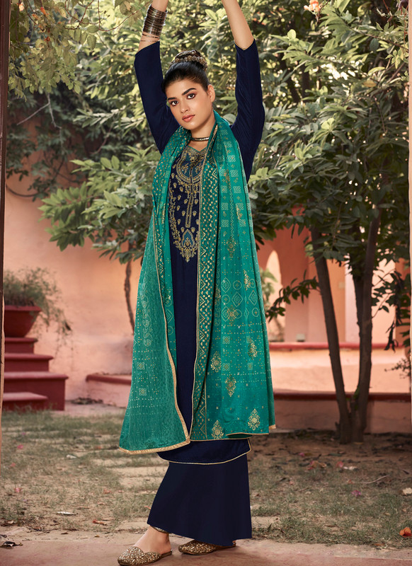 SareeBuzz Blue Georgette Heavy Embroidered Work Party Wear Palazzo Salwar Suit