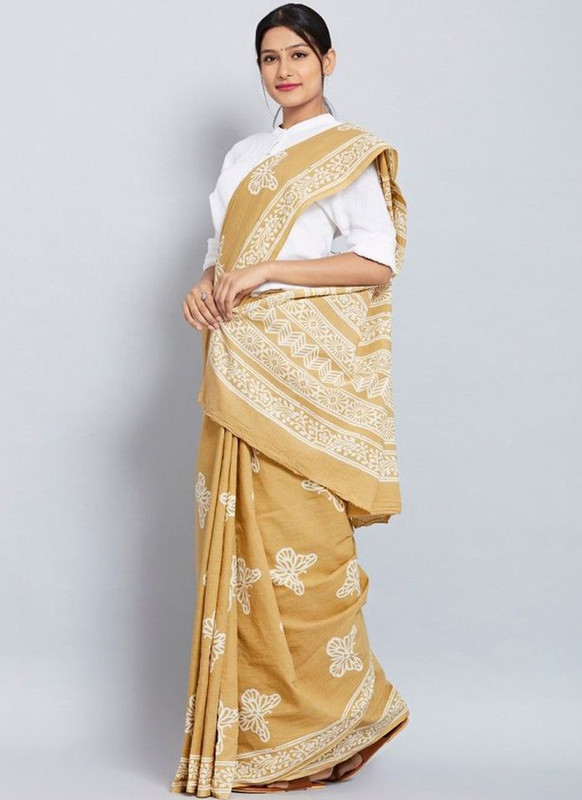 SareeBuzz Mustard Chanderi Silk Printed Party Wear Saree