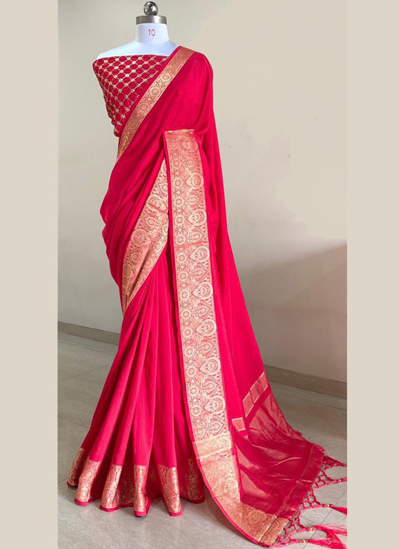 SareeBuzz Pinkish Silk With Woven Border And Sequence Blouse Party Wear Saree