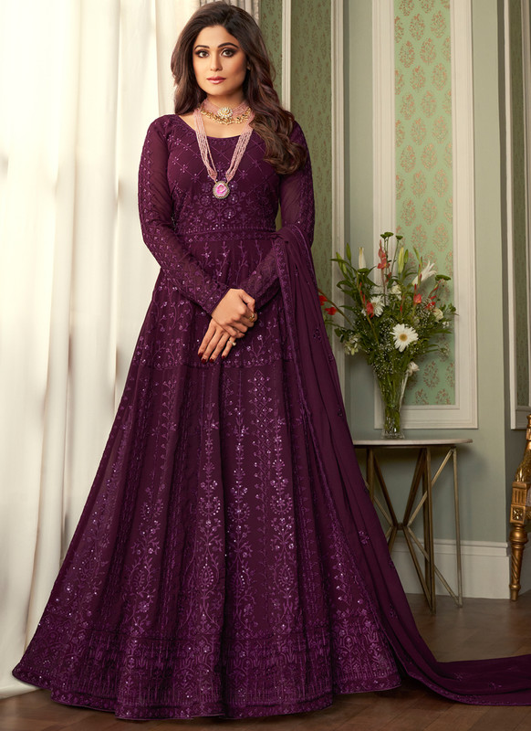 SareeBuzz Purple Georgette Embroidered Work Party Wear Anarkali Salwar Suit