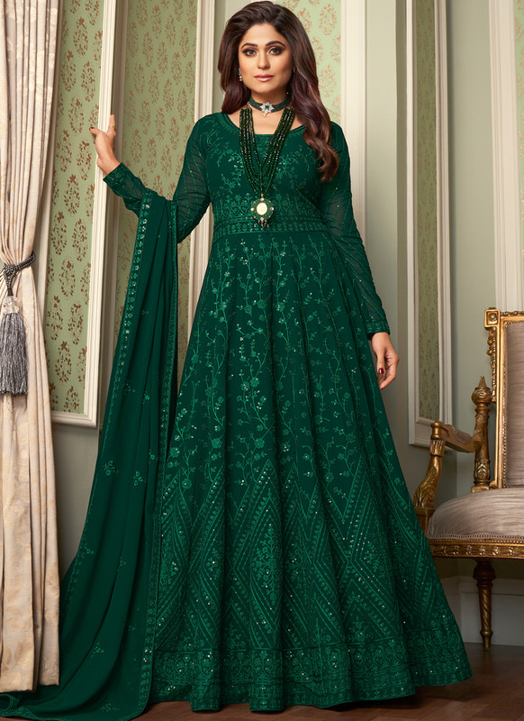 SareeBuzz Green Georgette Embroidered Work Party Wear Anarkali Salwar Suit