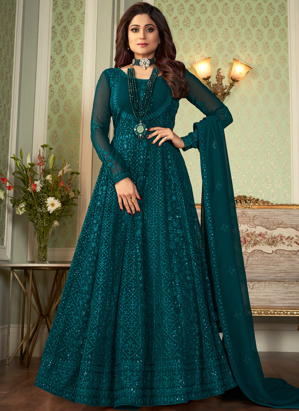 SareeBuzz Morpich Georgette Embroidered Work Party Wear Anarkali Salwar Suit
