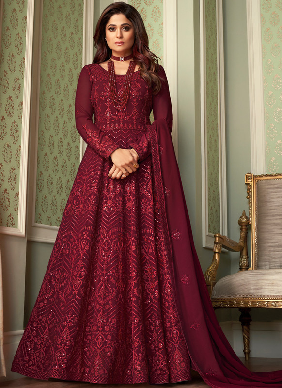 SareeBuzz Maroon Georgette Embroidered Work Party Wear Anarkali Salwar Suit