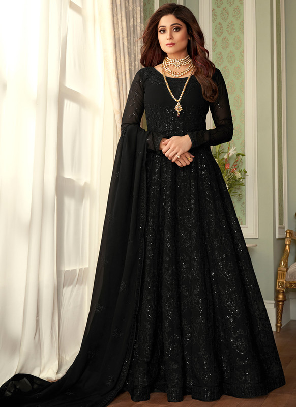 SareeBuzz Black Georgette Embroidered Work Party Wear Anarkali Salwar Suit