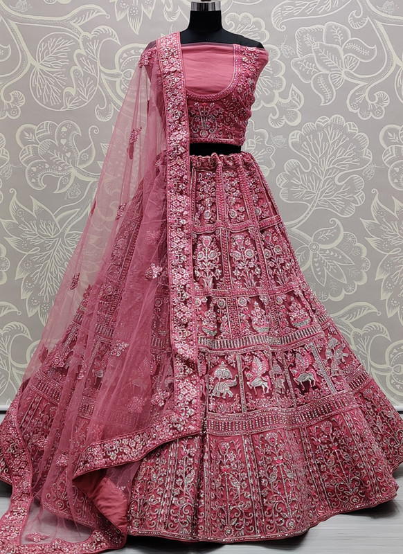 SareeBuzz Burgundy Net Embroidered Work Designer Wedding Lehenga Choli