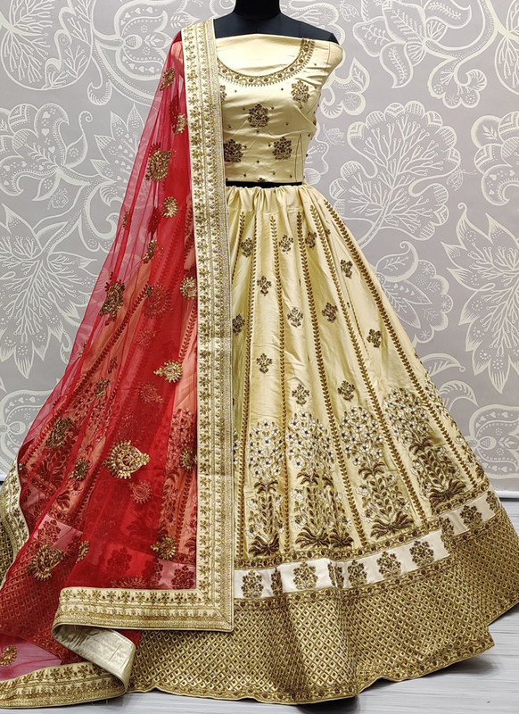 SareeBuzz Beige Silk Embroidered Work Designer Bridal Lehenga Choli